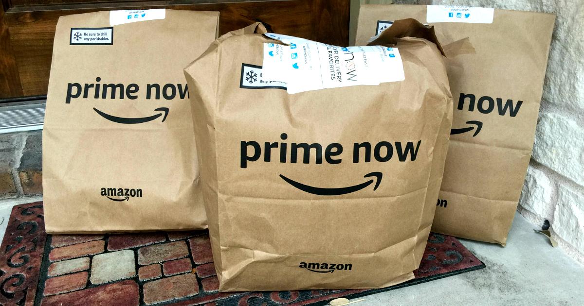 prime now bags on doorstep