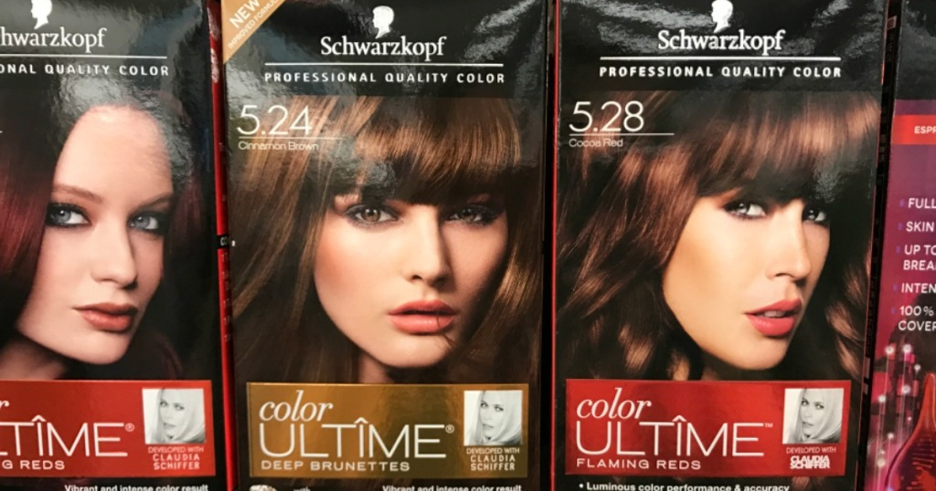 three boxes of hair color on shelf