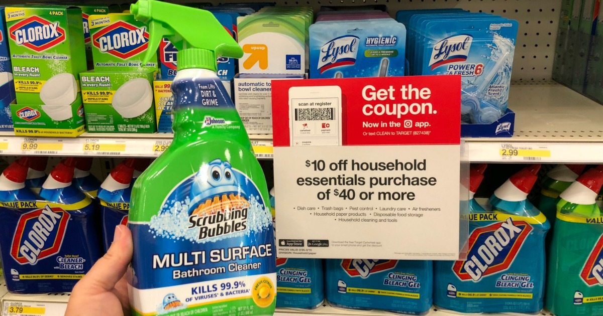 photograph regarding Scrubbing Bubbles Printable Coupon identified as Fresh new Scrubbing Bubbles, Pledge Windex Coupon codes + Aim Package