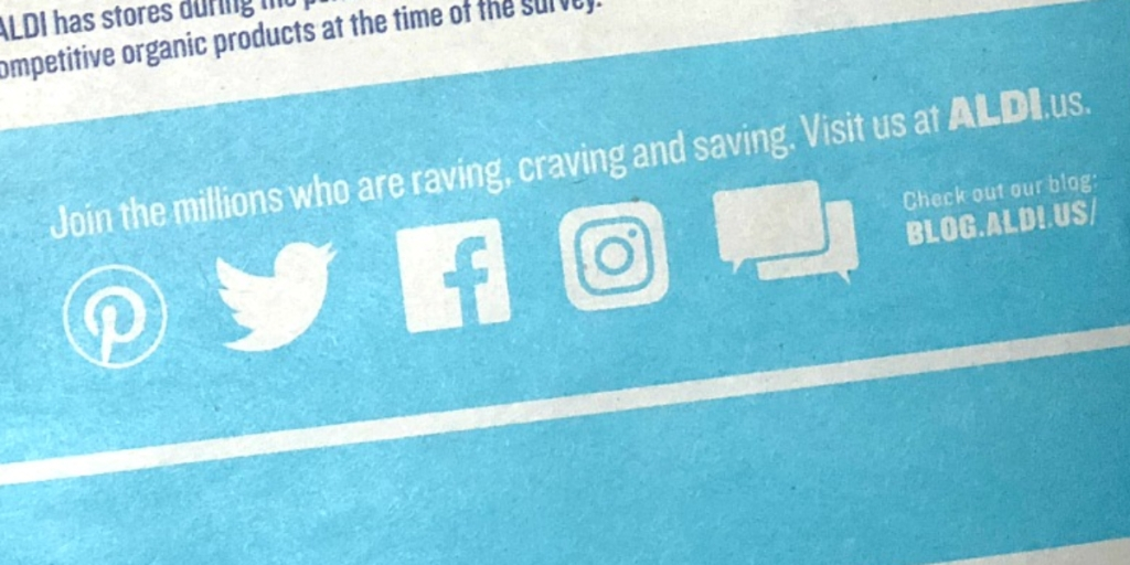 Aldi social media on flyer