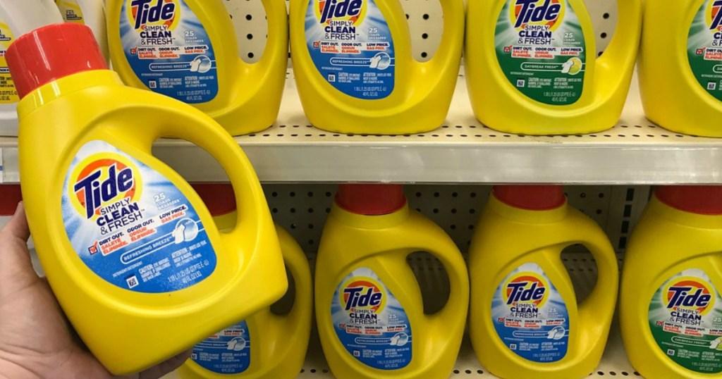 Tide Simply Laundry Detergent bottles on retailer shelf