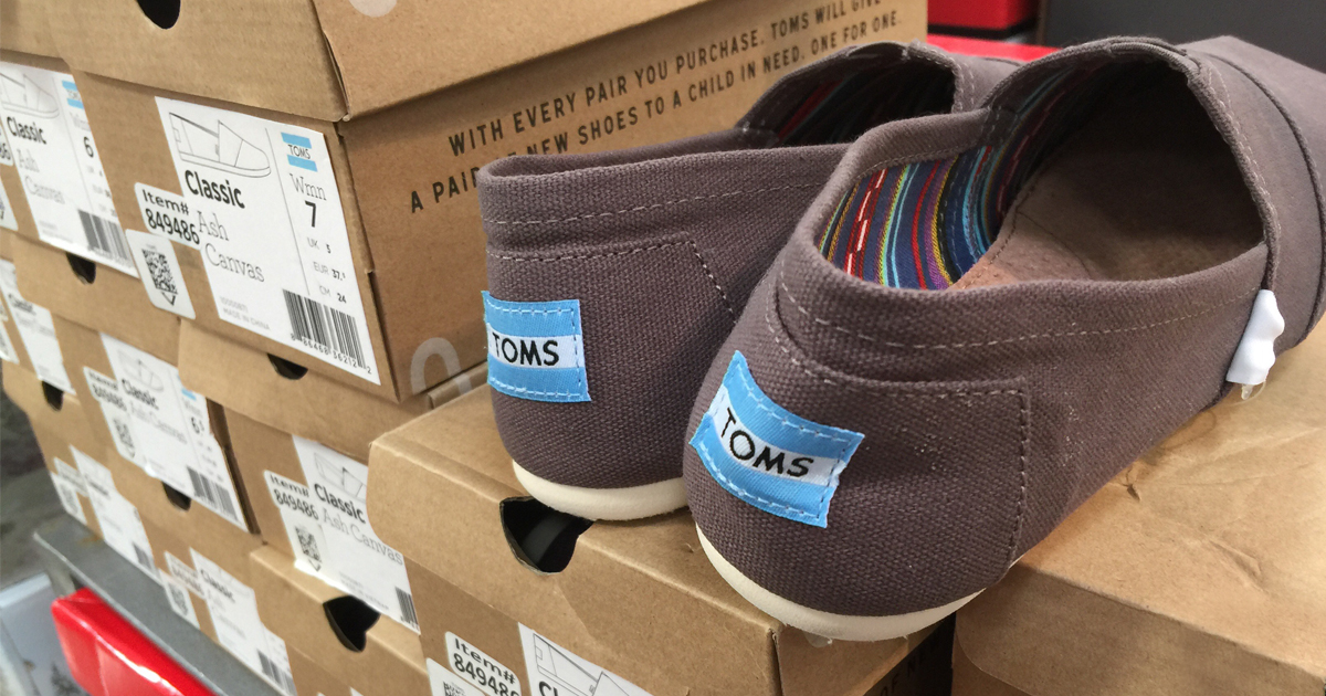 TOMS shoes sitting on box at Costco