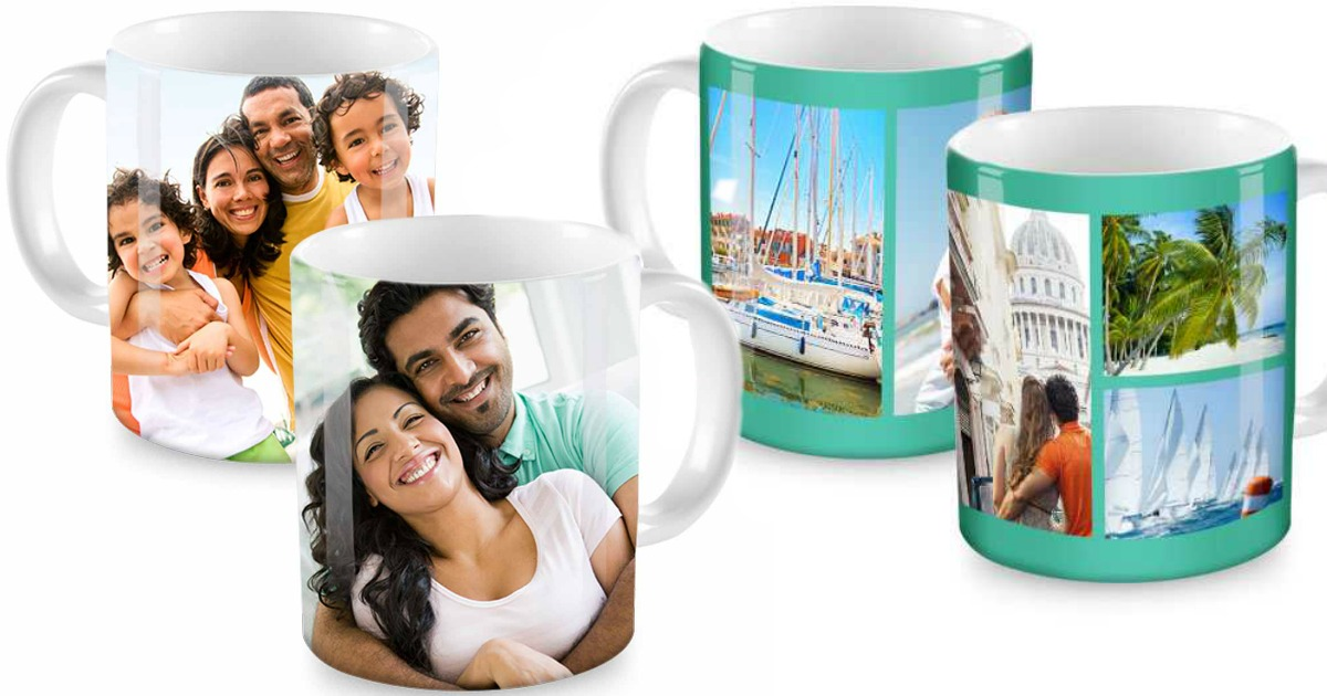 four photo mugs showing various pictures