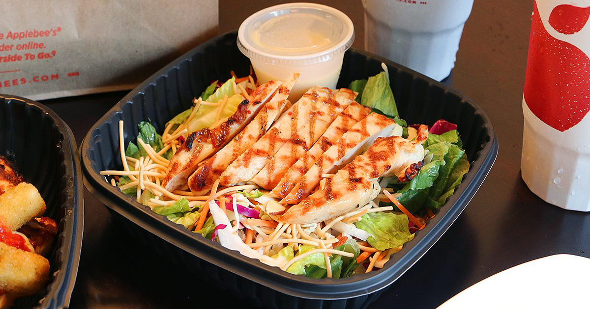applebee's grilled chicken salad with cheese and dressing, cups and sides
