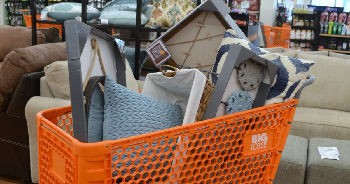big lots cart filled with farmhouse home goods