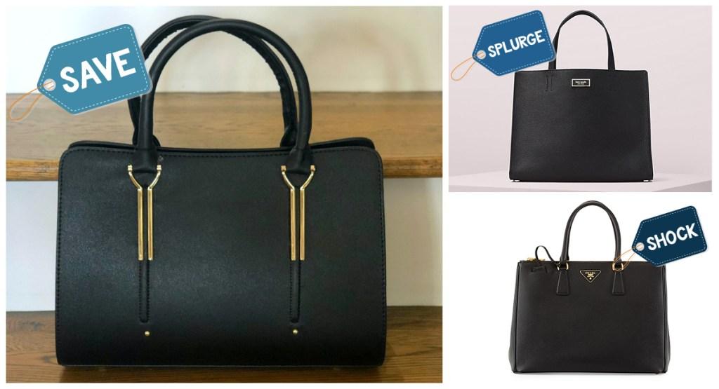 black handbags of various price ranges