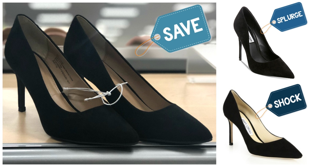 assortment of black high heel shoes with various prices