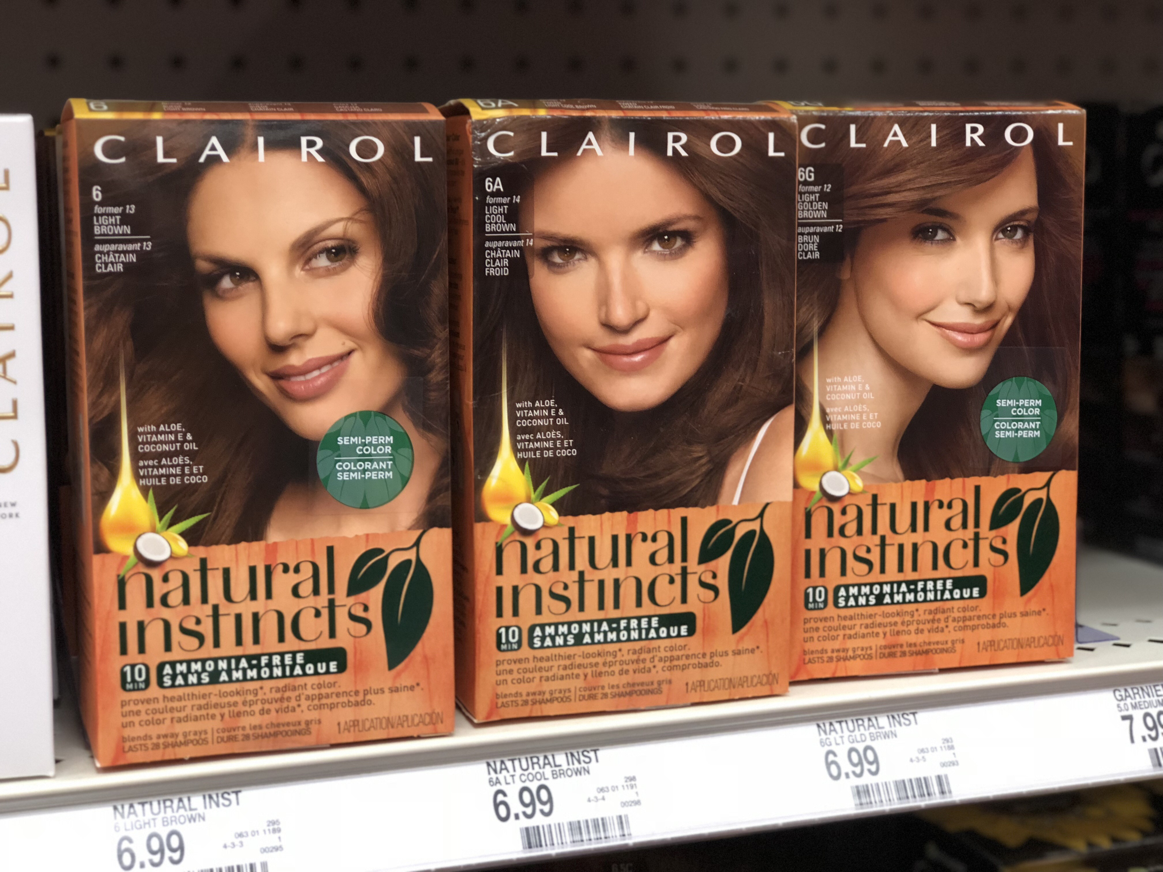 Clairol Natural Instincts hair dyes on shelf at walgreens