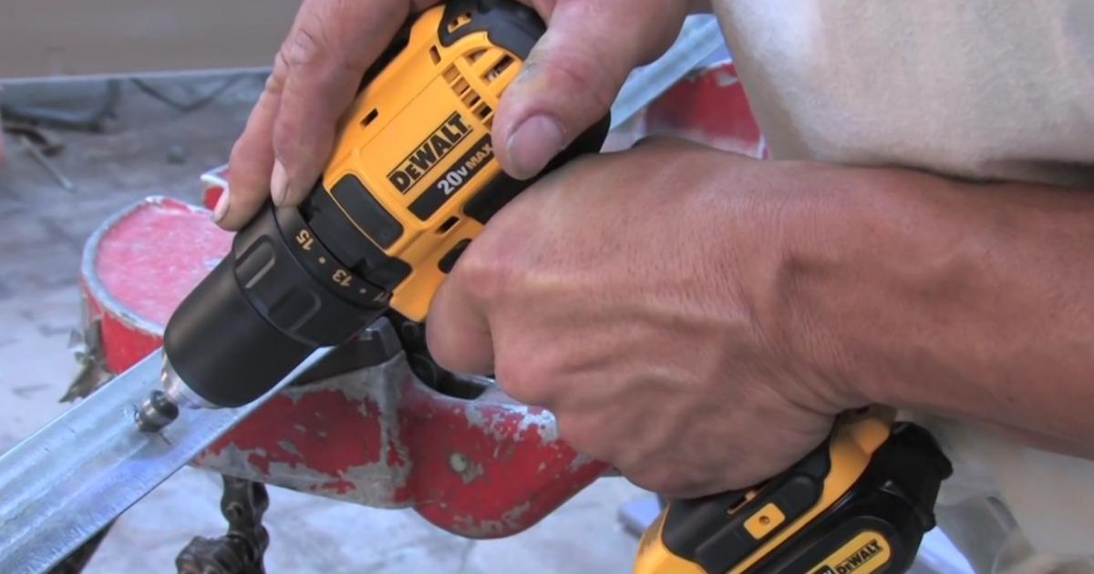 dewalt drill man using