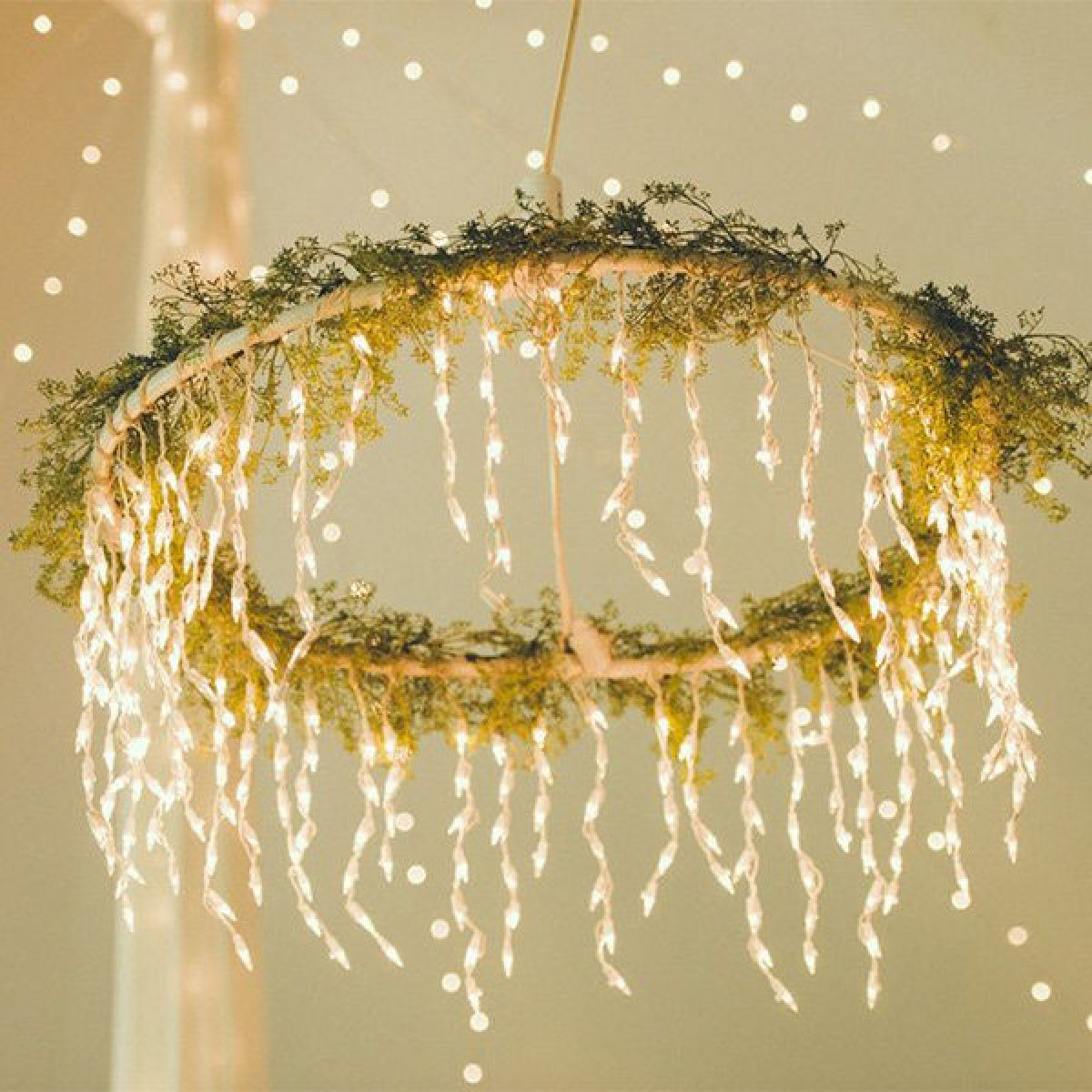hoop hanging from ceiling with lights and greenery