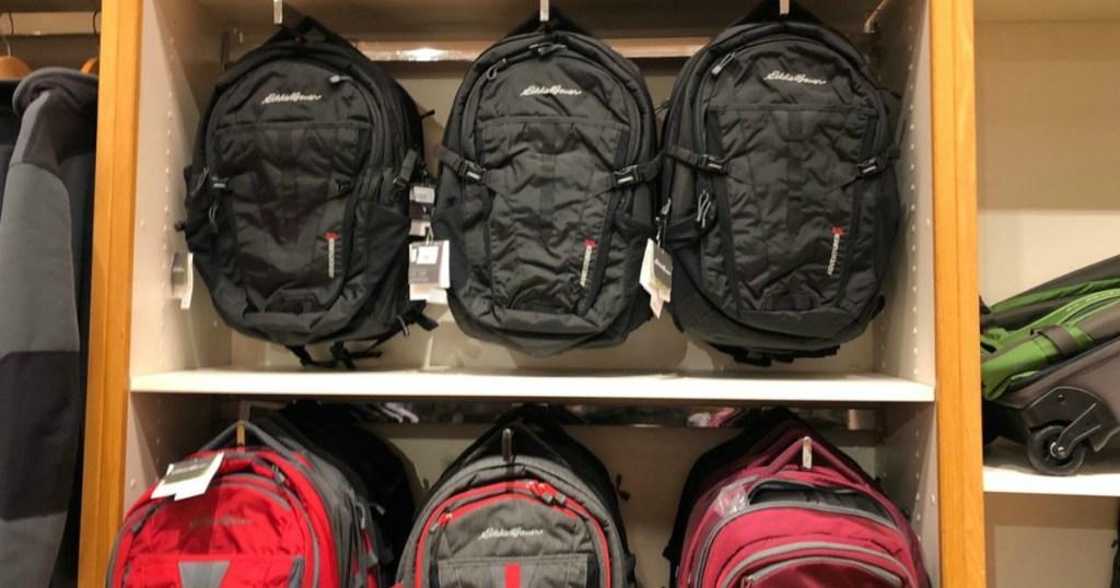 Eddie Bauer Packs on display