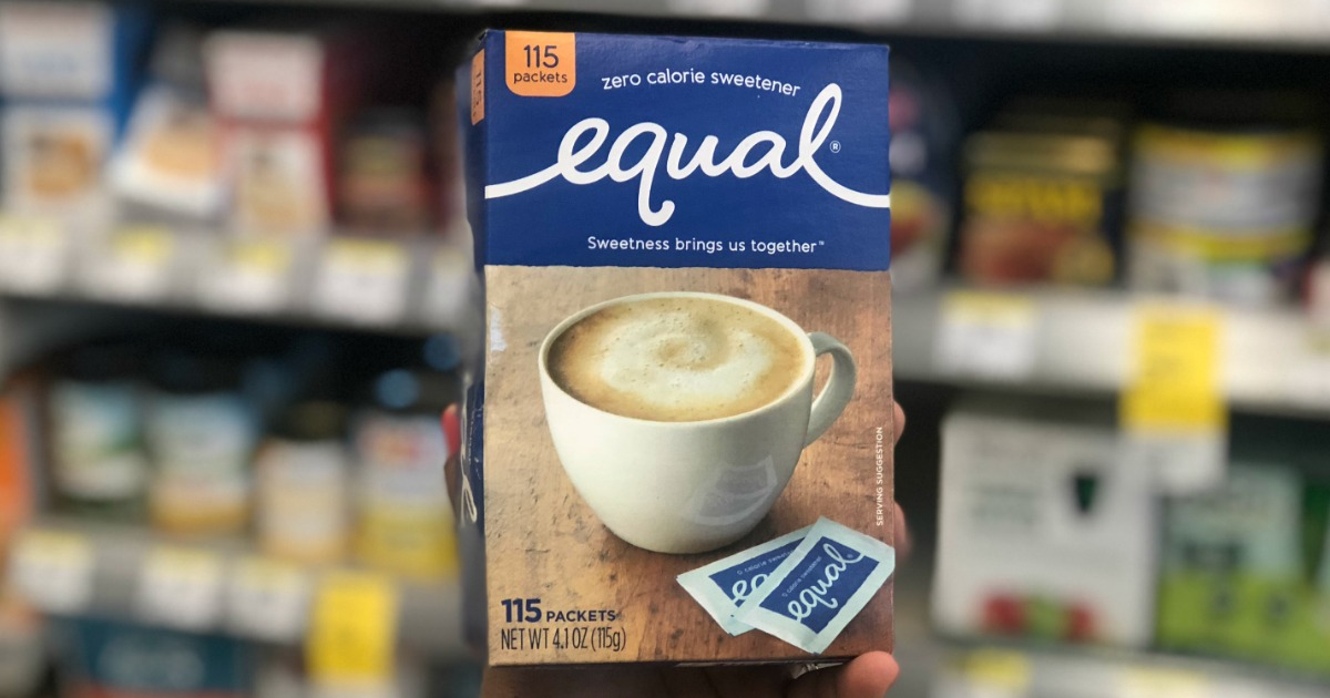 equal sweetener in front of shelf