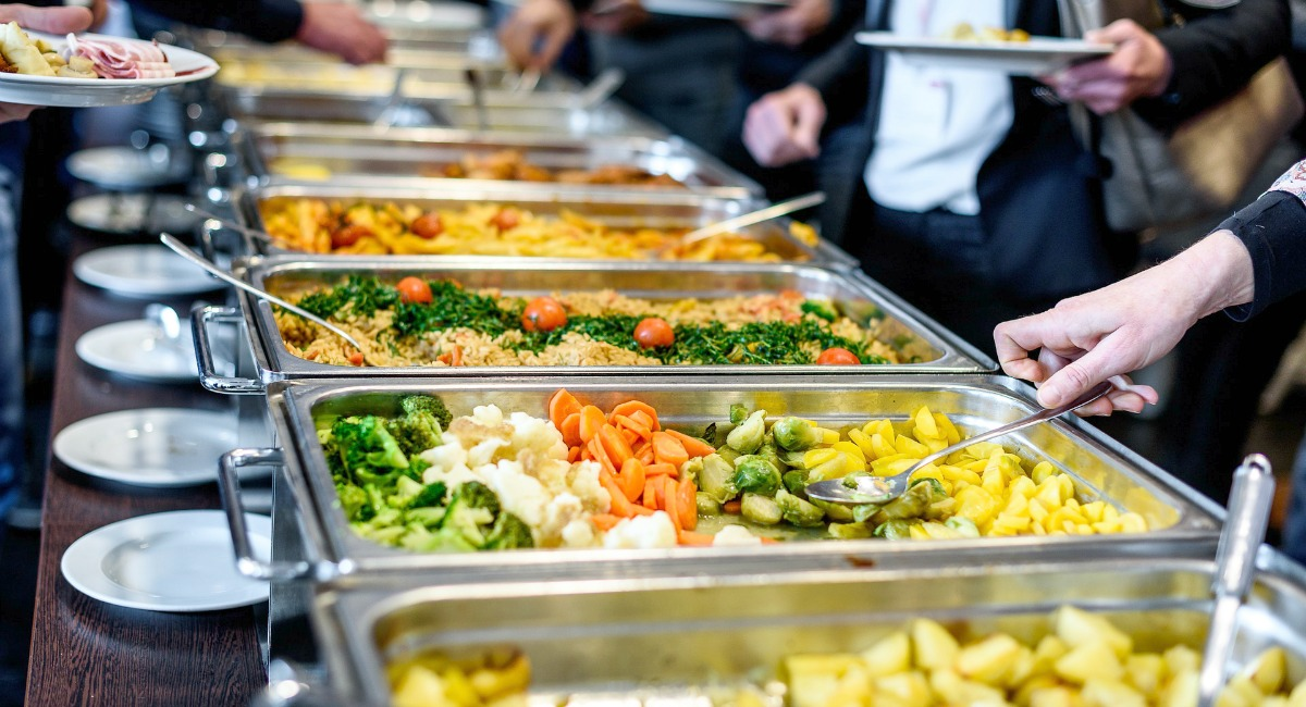 buffet style food line