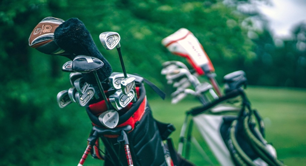 golf clubs on course