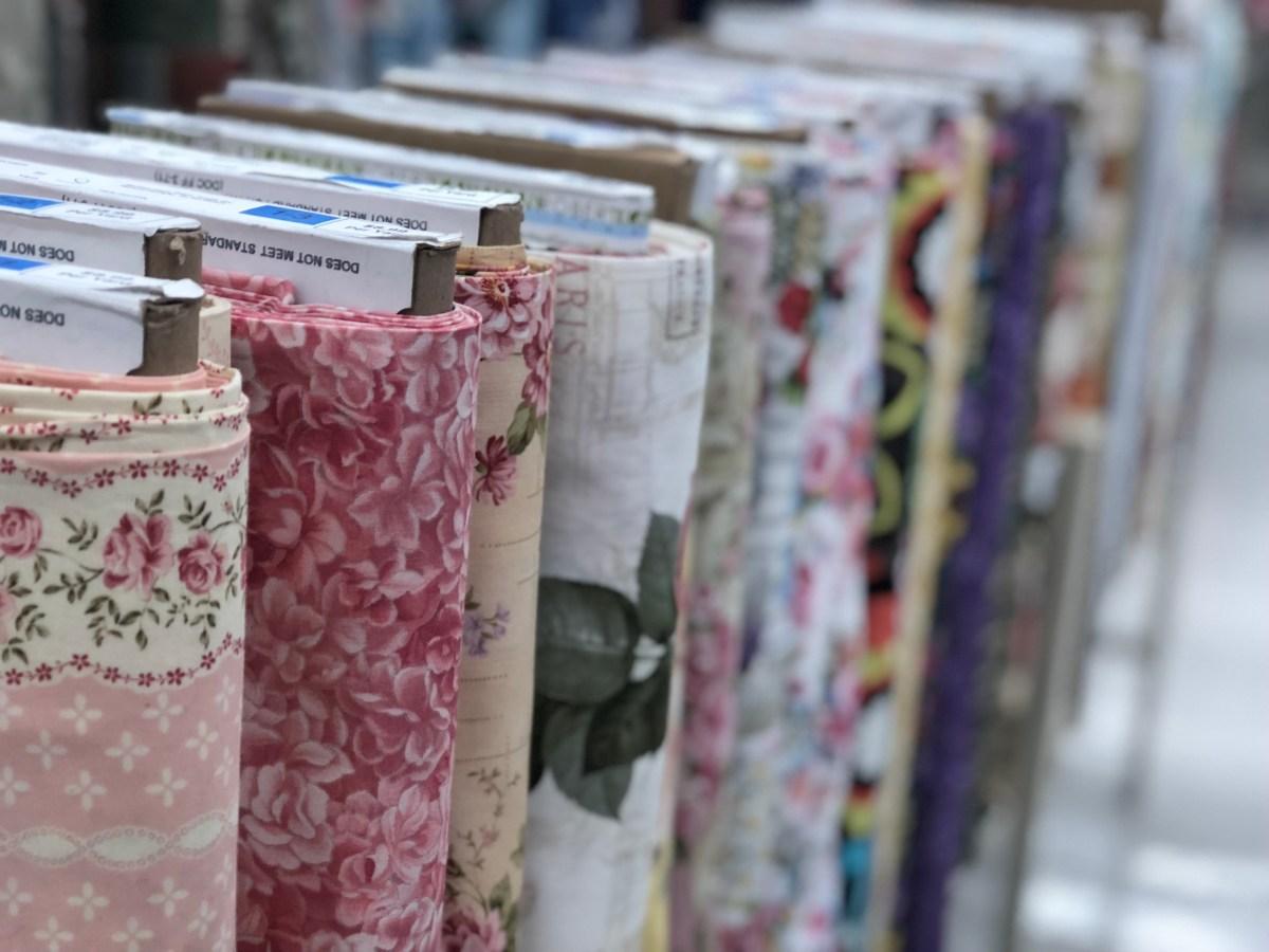 bolts of fabric at Hobby Lobby