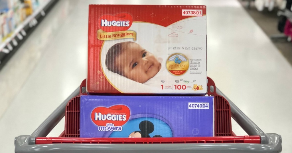 huggies diapers in a Target cart