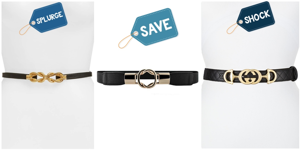 various black and gold interlocking belts at different price points