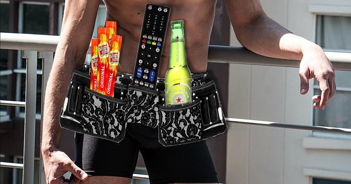 man wearing victors secret man belt lingerie hip2save