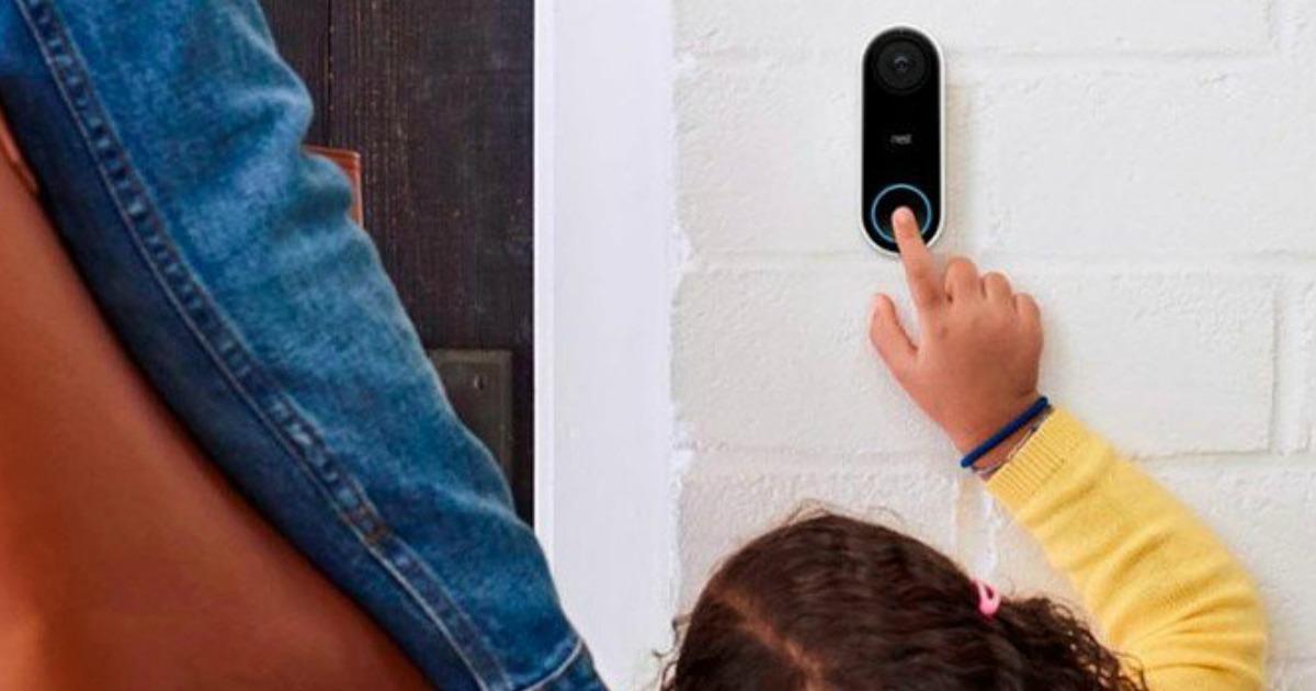 kid pressing Nest Hello Video Doorbell