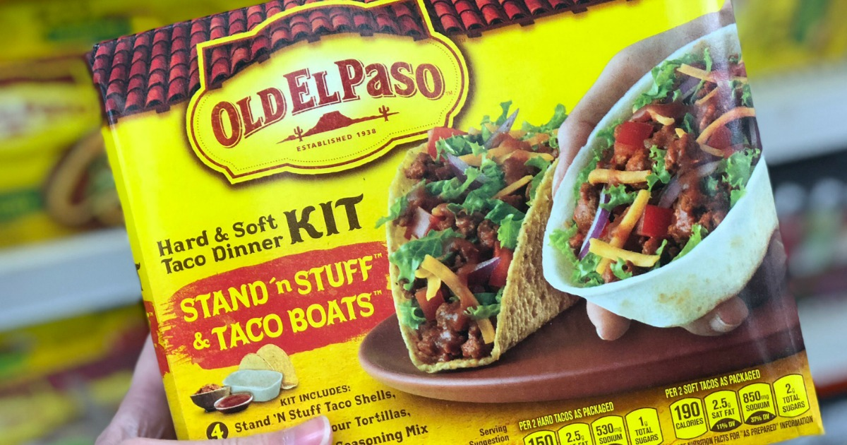 hand holding Old El Paso Taco Kit in store