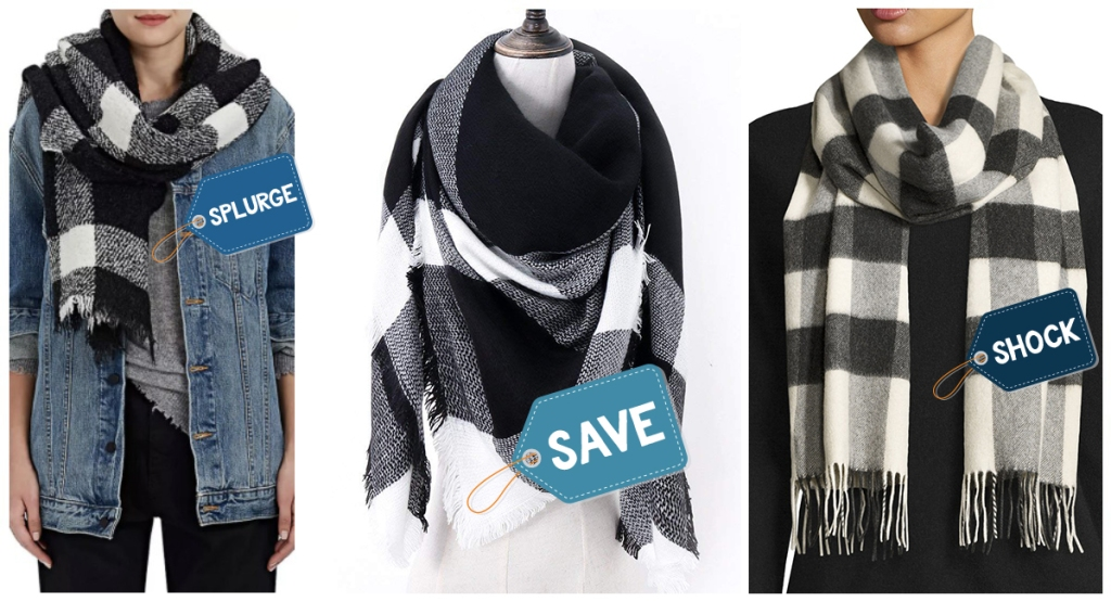 variety of black and white scarves at different price points