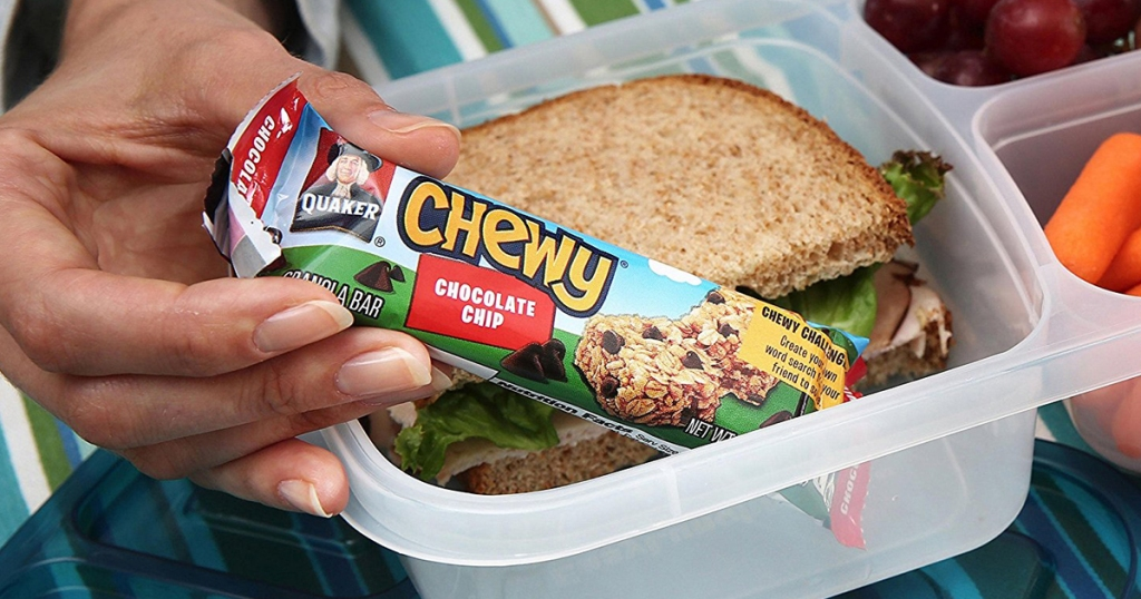 Chocolate chip Chewy bar going into a lunch