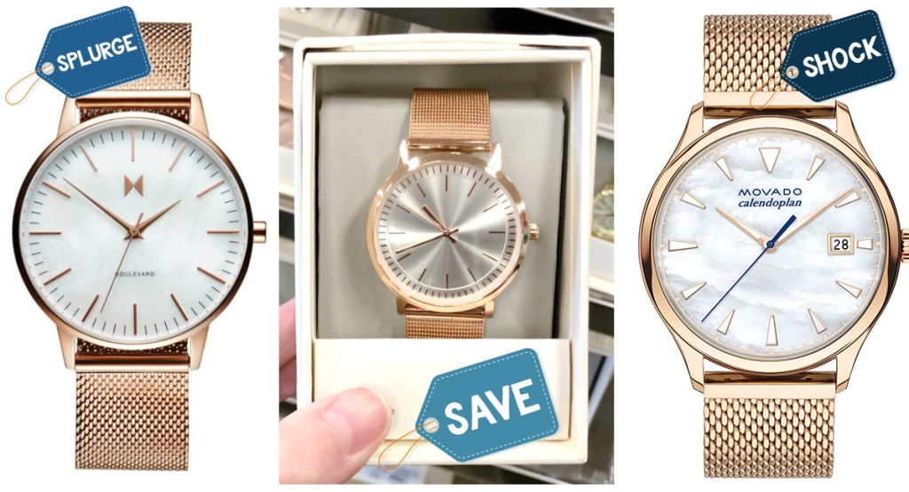 rose gold watch comparison with price variation