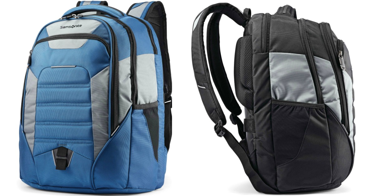 backpacks in blue and black