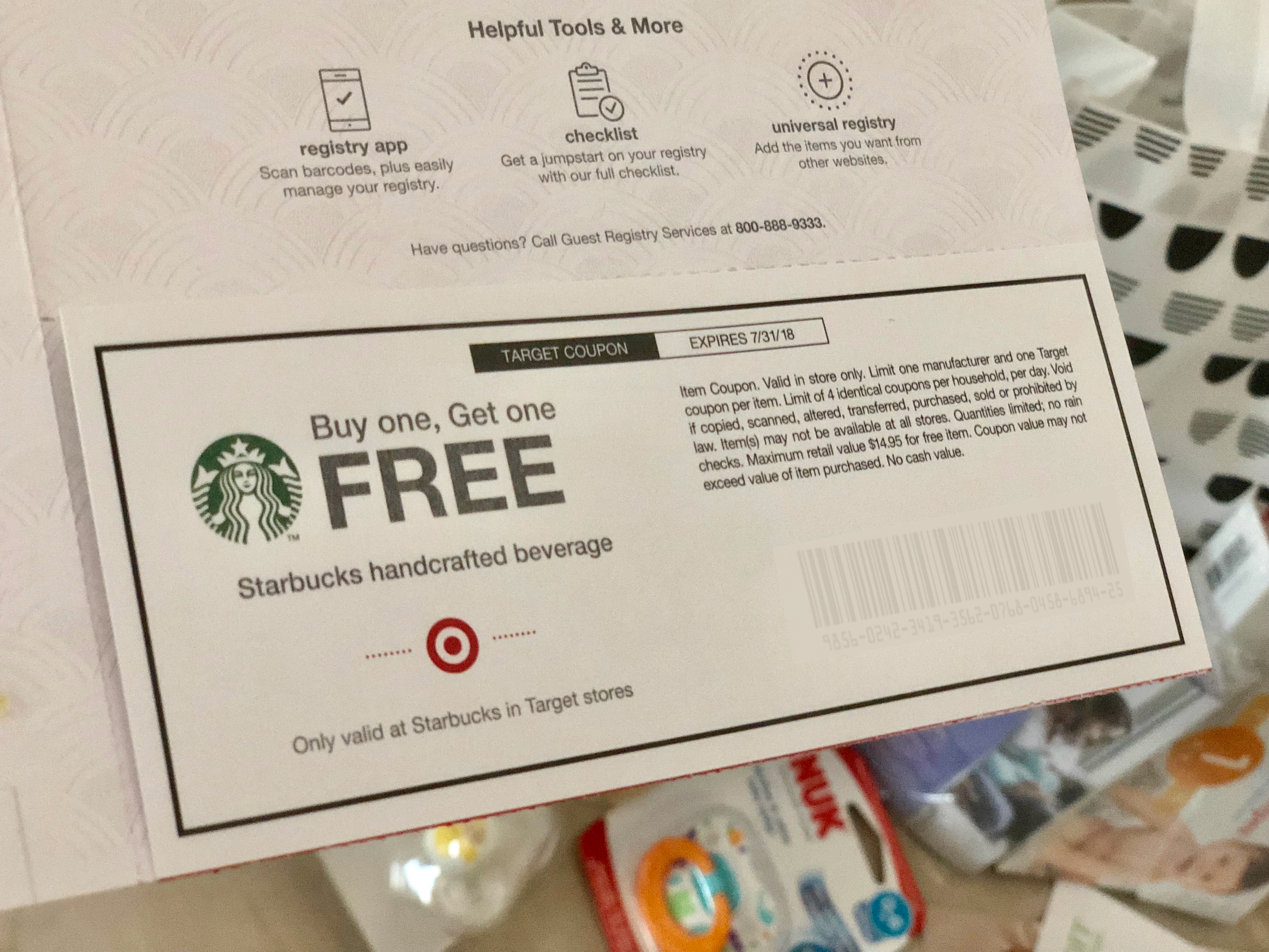target baby registry bag with free gift coupons and samples - includes high value coupons