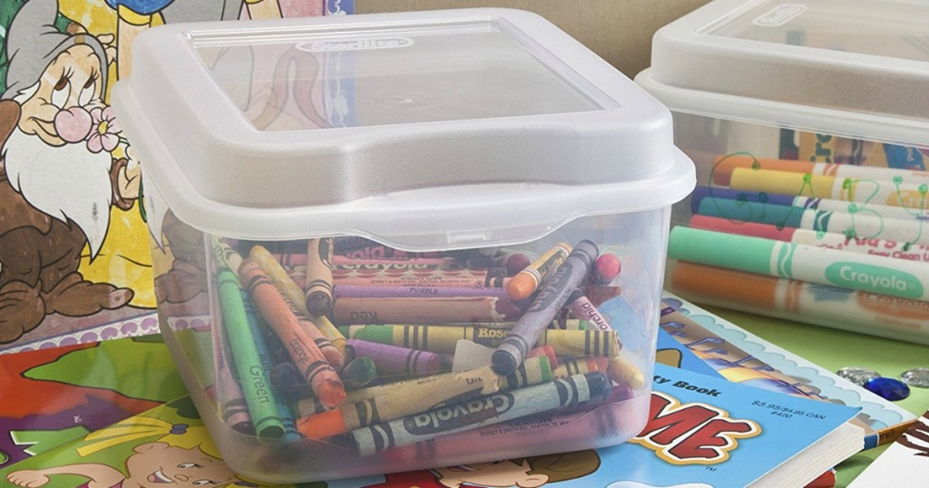 Sterilite flitop clear bins with crayons and markers with coloring books underneath
