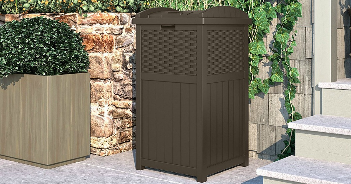 Hop On Over To Or Where You Can Snag This Highly Rated Suncast Outdoor Trash Hideaway In Java Wicker For Just 33 15 Shipped