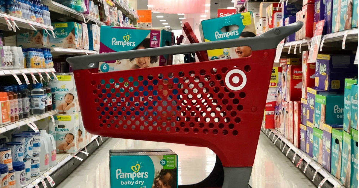 target cart filled with baby diapers