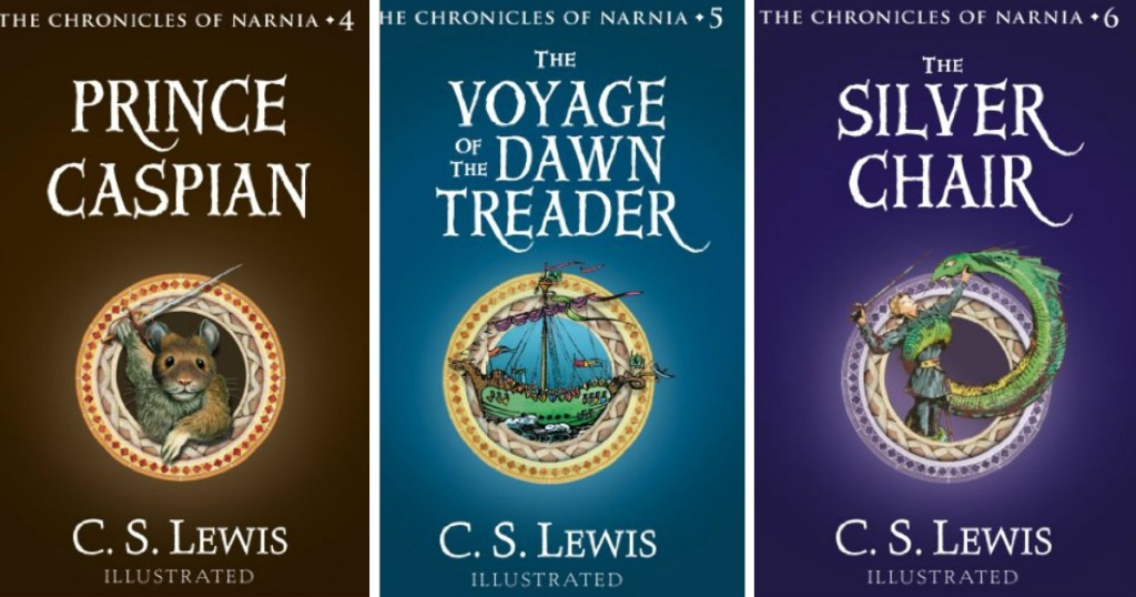 three book covers from the Chronicals of Narnia