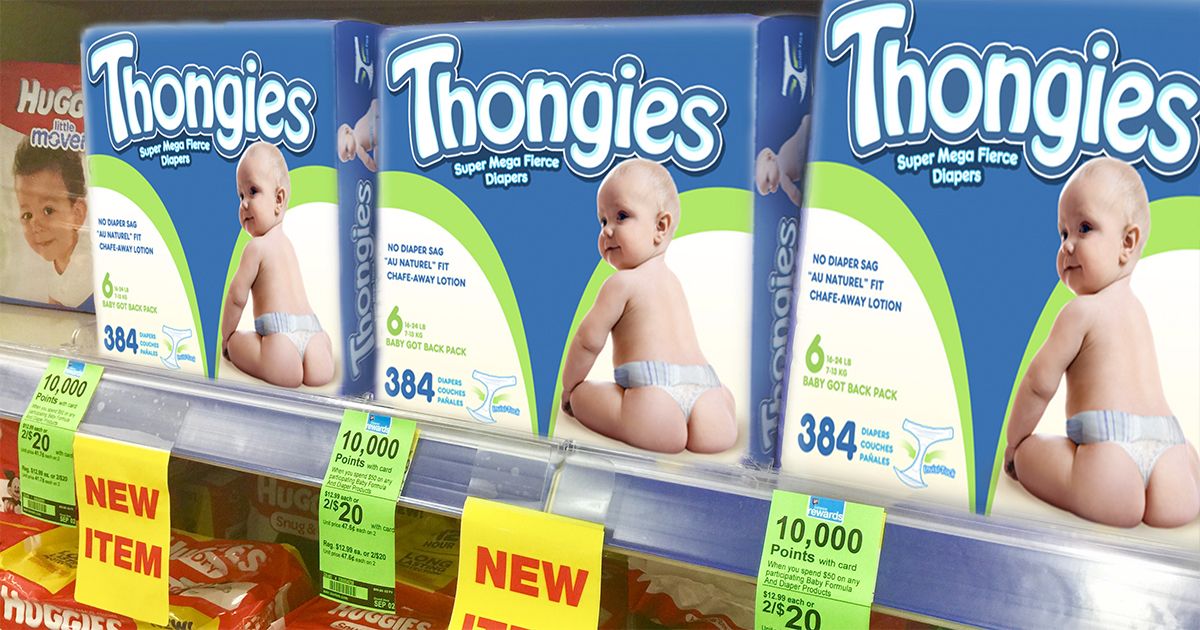 thongies baby diapers on sale for April Fool's Day 2018