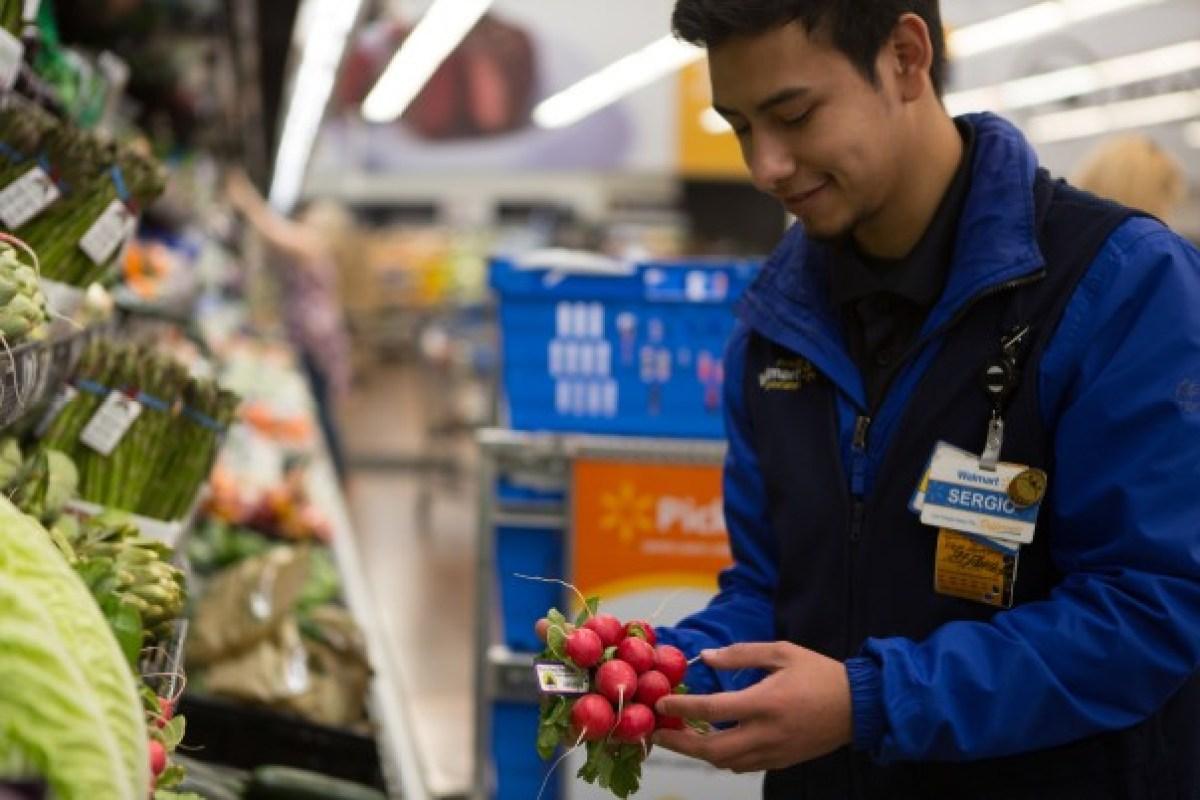 Walmart associate shopping for grocery order