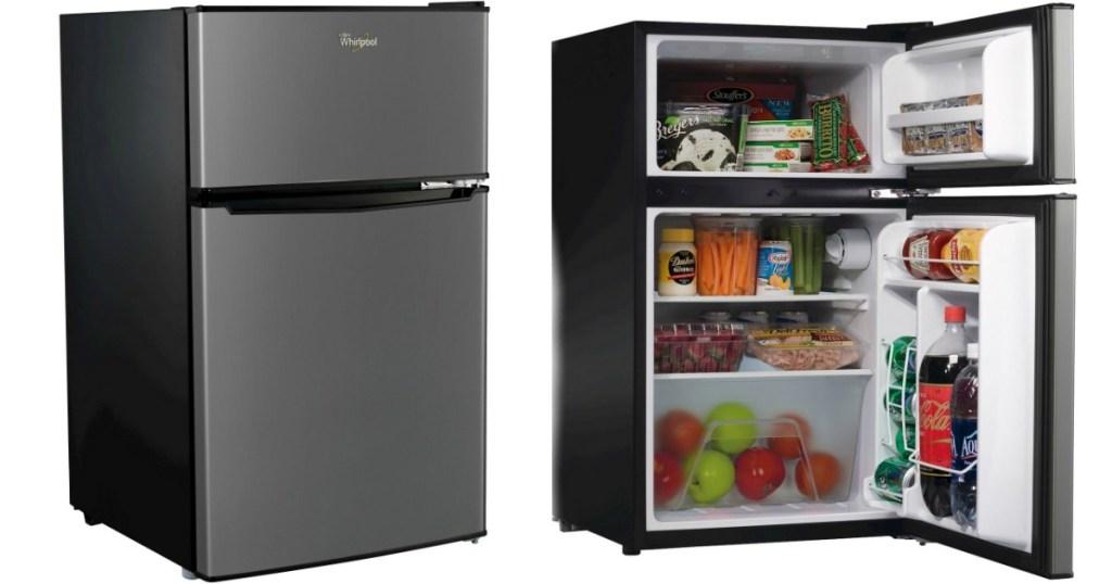silver mini fridge closed and open