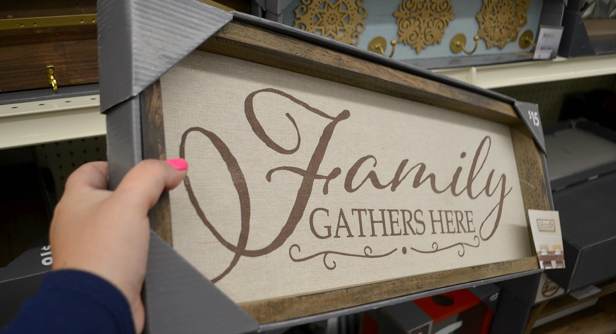 family gathers here burlap and wood sign