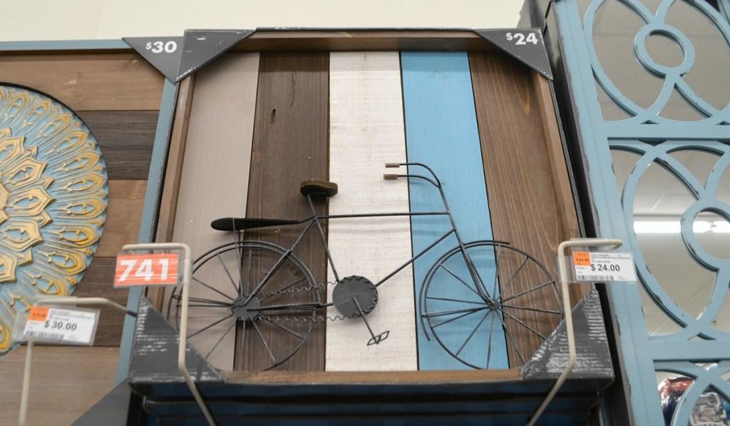 big lots wood plank and iron bicycle wall art