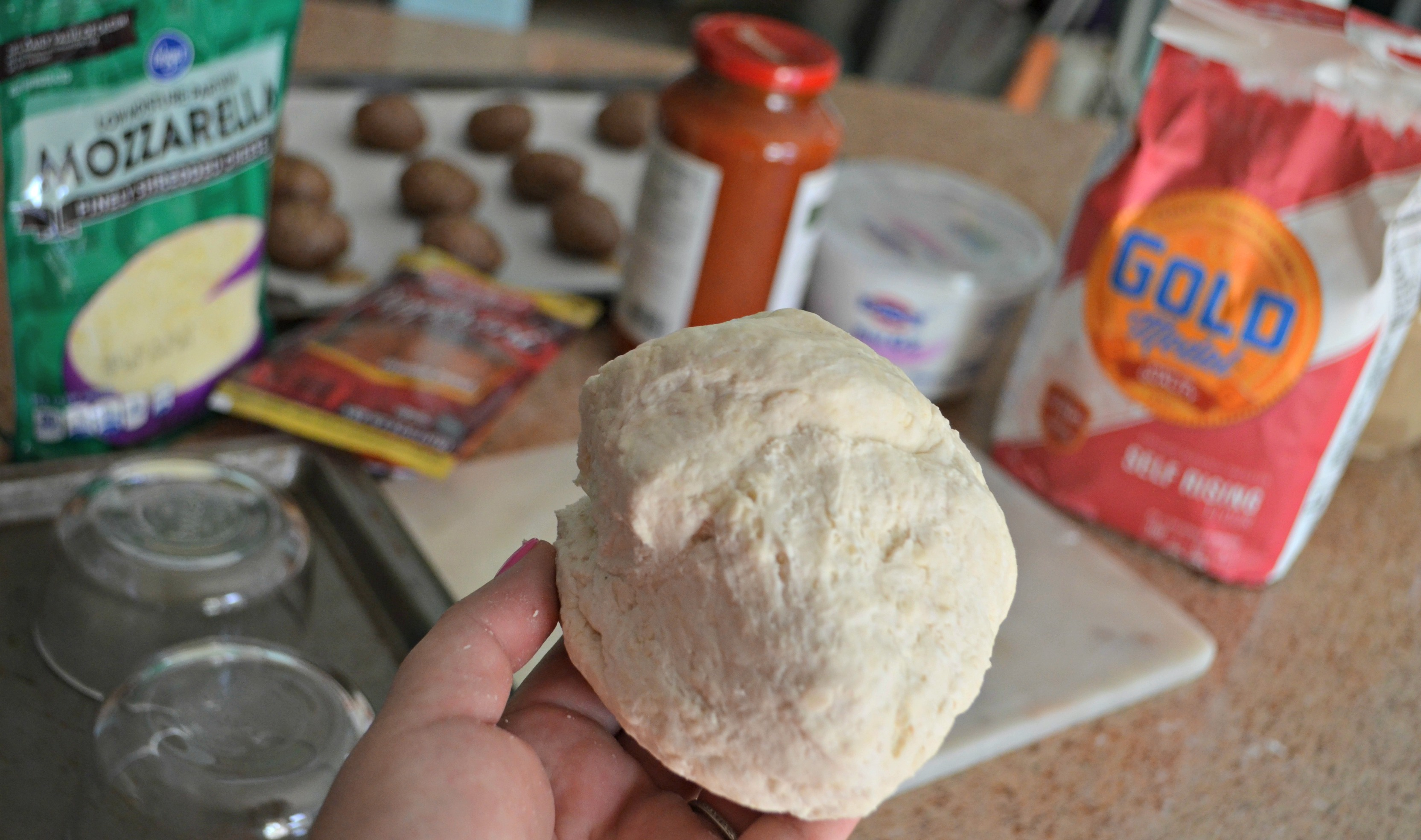 The dough is so easy and uses only two ingredients.
