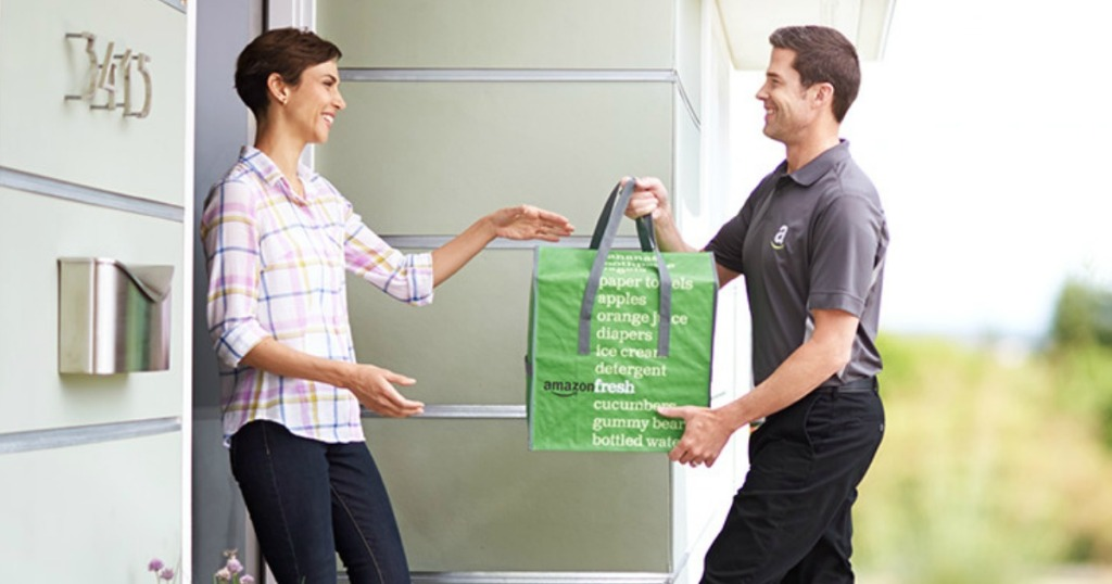 Man delivering groceries for Amazon Fresh