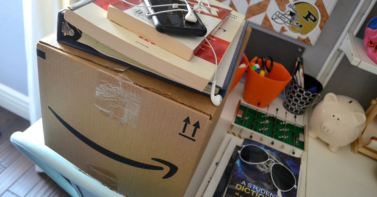 Amazon Prime Student free shipping and deals – Amazon box in a dorm room