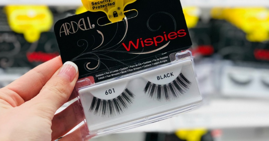 hand holding ardell falsie lashes
