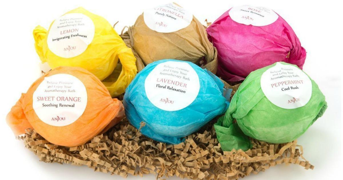 Anjou Bath Bombs 6-Piece Gift Set Made W/ Essential Oils ...