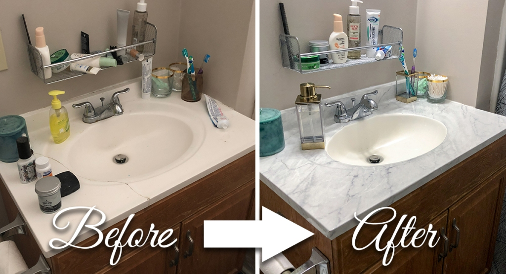 marble countertop DIY - before and after