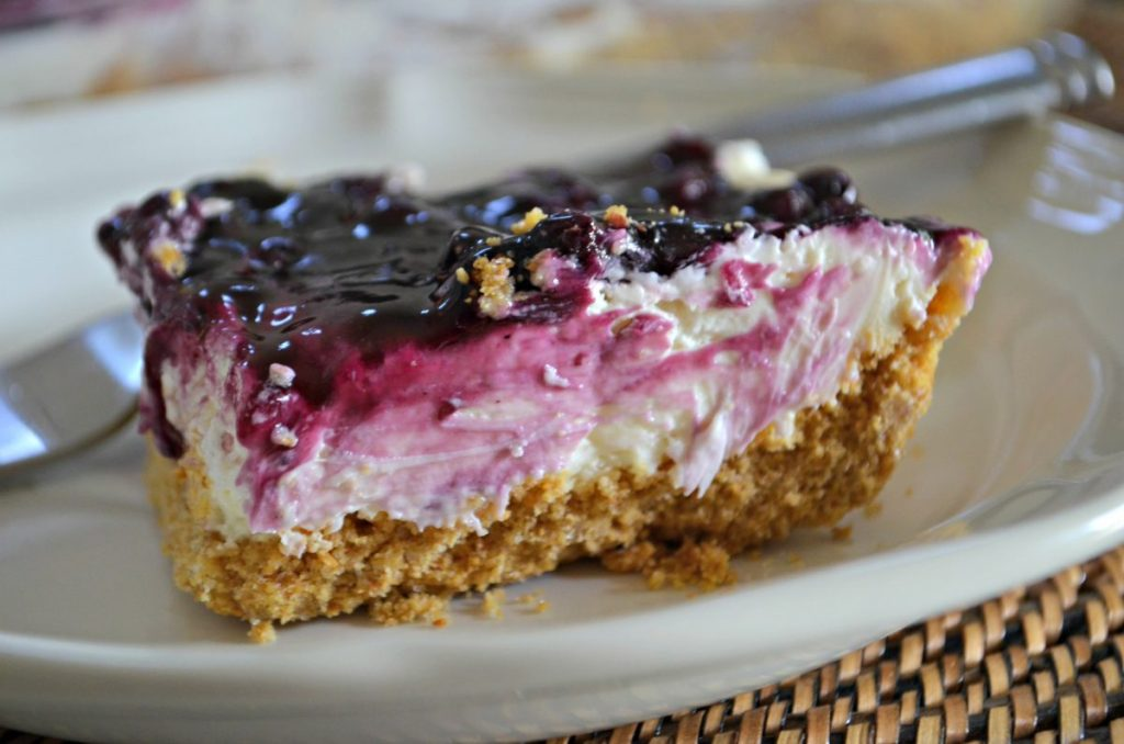 blueberry cheesecake on plate