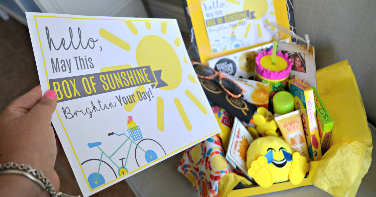 picture relating to Basket of Sunshine Printable named Brighten Someones Working day with a Box of Solar - Hip2Help you save