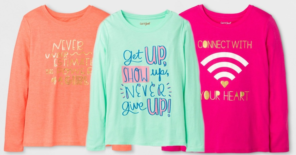 5211adff44ab4 Hop on over to Target.com where they dropped the price on select Cat & Jack  Girls Long Sleeve Graphic T-Shirts down to just $2.10 (regularly $7).