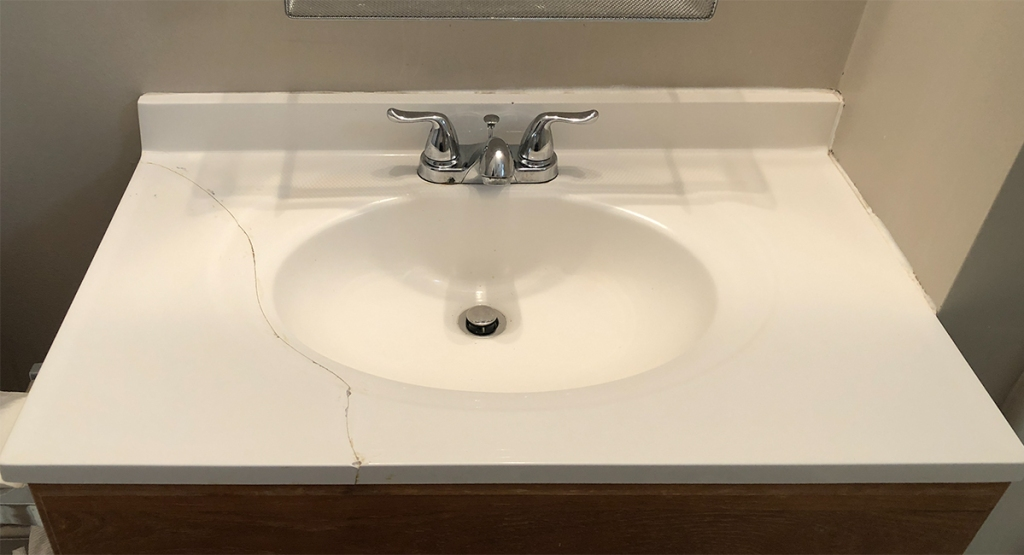 marble counter top DIY - clean sink well before starting