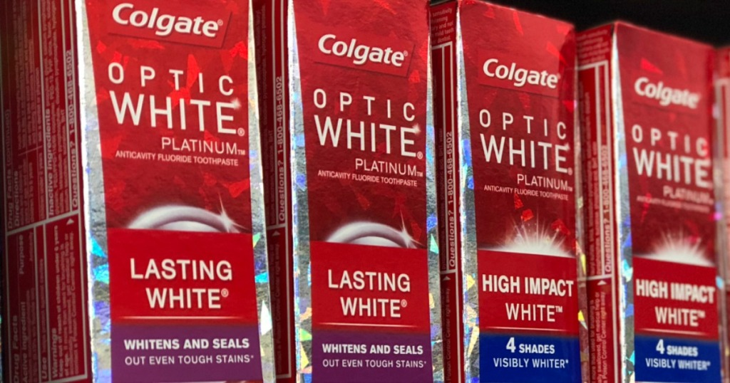 Colgate Optic White boxes