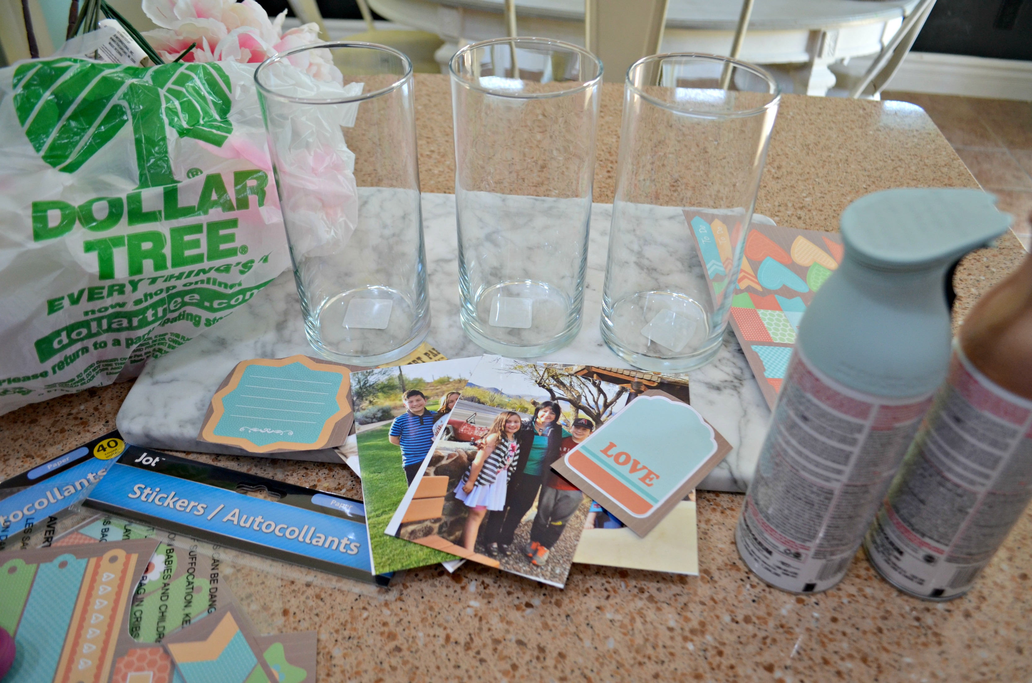 Most of the supplies for these vases can be found at Dollar Tree.